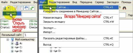 Как пользоваться FileZilla_Menedger saiytov