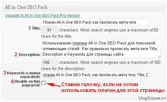 All in One SEO Pack: мета-теги Title, Description и Keywords