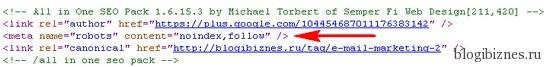 noindex,follow - запрет на индексацию страницы