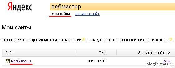 Сайты в Яндекс.Вебмастер