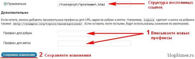Изменение префиксов рубрик и меток в ссылках WordPress