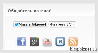 Блок соц.кнопок с плагином Social Media Widget