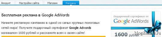 Подарочный сертификат Google Adwords