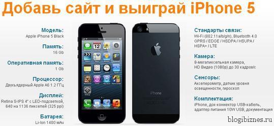 Добавь сайт в Профит Партнер и выиграй iPhone 5