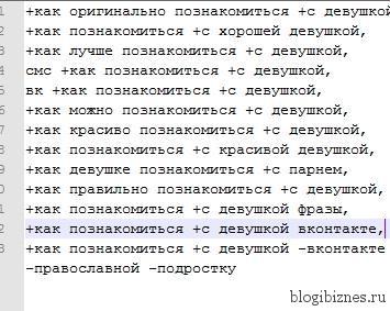 Список ключевых слов Яндекс.Директ в текстовом документе
