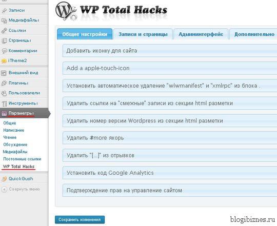Общие настройки плагина WP Total Hacks