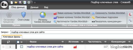 Бесплатная программа для подбора ключевых слов Slovoeb