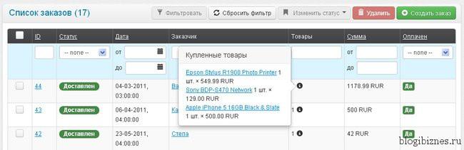 Управление заказами в админ панели интернет-магазина