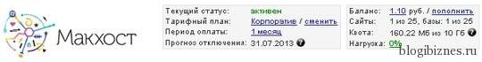 """Аккаунт в Макхост (тариф """"Корпоратив"""")"""