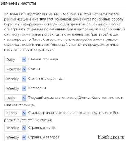 Настройка частоты сканирования различных типов страниц