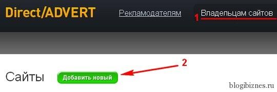 Добавление нового сайта в рекламную сеть Директ Адверт