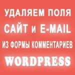 Как удалить поле Сайт и E-mail в форме комментариев WordPress