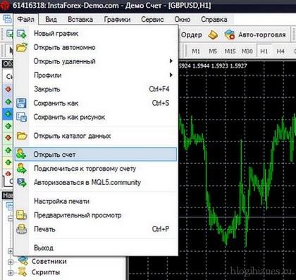 Открытие счета в программе MetaTrader4