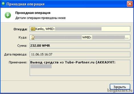 Выплата на WebMoney от Tube-Partner