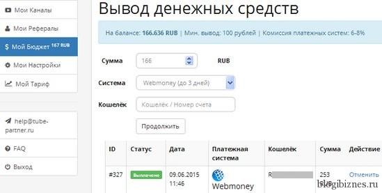 Вывод денег в партнерке Tube-Partner