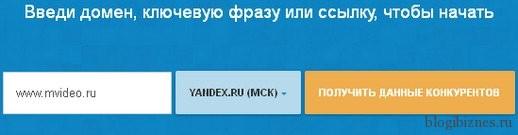 Вводим имя домена в поисковую строку Продвигатора