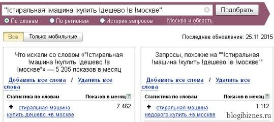 Статистика по запросу из Яндекс.Вордстат
