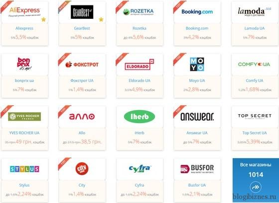 Популярные интернет-магазины в кэшбэк-сервисе Летишопс